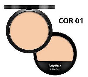 Pó Compacto Facial Ruby Rose HB7206 - Cores Claras e Escuras (escolha sua preferida)