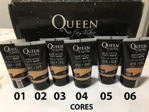 Base Facial Matte Queen Fashion Com Filtro Solar UVA e UVB - 06 Tonalidades