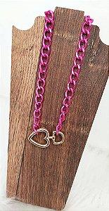 Colar Corrente Pink Heart