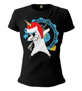Camiseta Feminina Baby Look ETC Merry Christmas Unicorn Esperandio Tactical Concept