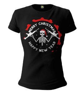 Camiseta Feminina Baby Look ETC Christmas Skeleton Esperandio Tactical Concept