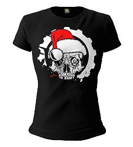 Camiseta Feminina Baby Look ETC Christmas Skull Esperandio Tactical Concept