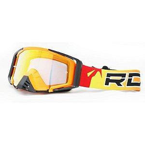 Óculos Capacete MotoCross Red Dragon EFX YH-105 LF Laranja Neon Lente Dupla Cristal