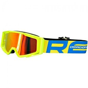 Óculos Capacete MotoCross Red Dragon MX YH-138 AF Amarelo Neon Lente Espelhada Vermelha