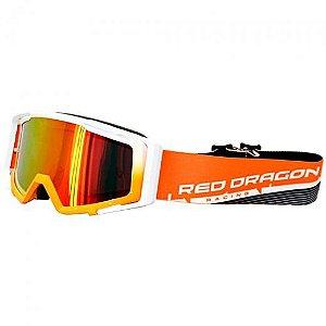Óculos Capacete MotoCross Red Dragon MX YH-138 LP Branco Laranja Lente Espelhada Vermelha