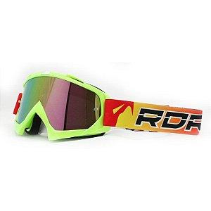 Óculos Capacete MotoCross Red Dragon YH-16FVDS Verde Neon Lente Dupla Espelhada