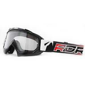 Óculos Capacete MotoCross Red Dragon YH-16 P1 Preto Lente Dupla Cristal