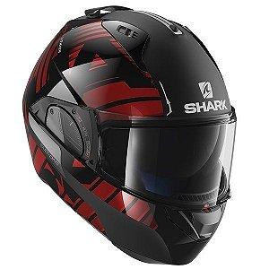 Capacete Moto Shark Evo One V2 Lithion Kur Escamoteável Preto Vermelho