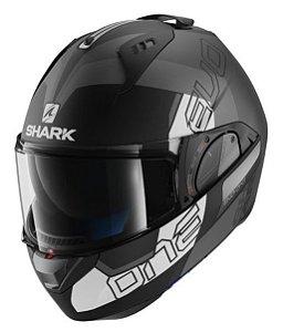 Capacete Moto Shark Evo One V2 Slasher Matt Kaw Escamoteável Preto Cinza