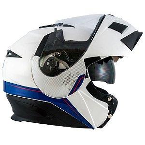 Capacete Moto Zeus 3020 Urban Ab11 Escamoteável Adventure Solid White Blue