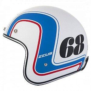 Capacete Moto Zeus 380H K63 Matt White Blue Aberto 68