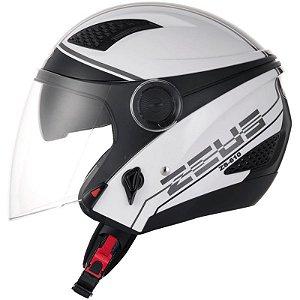 Capacete Moto Zeus 610 Aberto New City Solid Branco e Preto