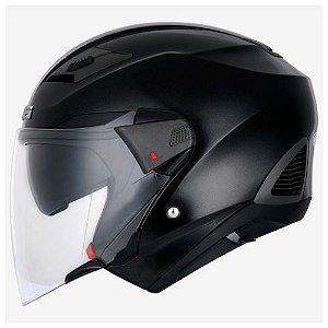 Capacete Moto Zeus 611 Logo 3D Preto Aberto e Fechado