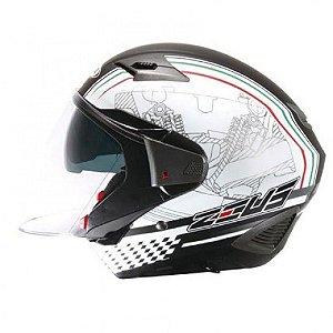 Capacete Moto Zeus 611 TT12 Preto Fosco Aberto e Fechado
