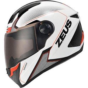 Capacete Moto Zeus 811 Evo Speedster AL6 Branco Preto e Vermelho