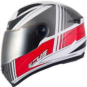 Capacete Moto Zeus 811 EVO TRIP J20 Branco e Vermelho