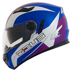 Capacete Moto Zeus 813 Field An9 Blue Red Edição Especial
