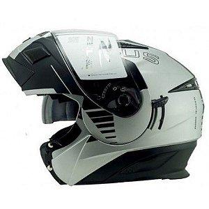 Capacete Moto Zeus Ab12 Escamoteável Cruiser Matt Silver Blk