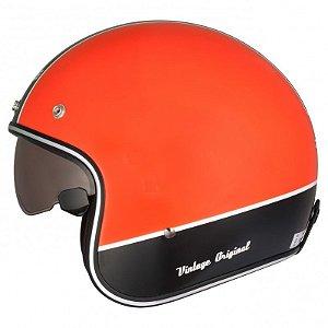 Capacete Moto Zeus Vintage 380H K25 Solid Orange Black Aberto