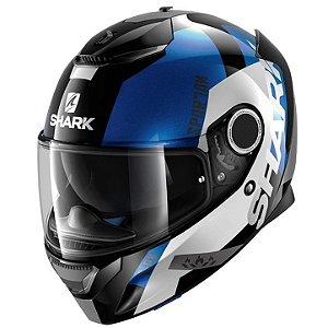 Capacete para Moto Shark Spartan Apic Kwb Preto e Azul Pulse Division