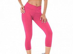 Calça Corsário Fitness Sem Costura Rosa