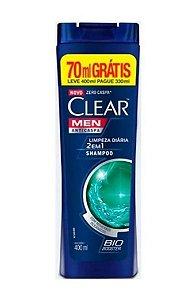 Clear Men Limpeza Diária 2em1 Shampoo Anticaspa 400ml grátis 70ml