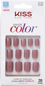 KISS NEW YORK Unhas Postiças Salon Color Curto Beautiful 28Un (KSC52BR)