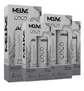 MELIVE Coco Kit Shampoo + Condicionador de Hidratação 300ml 6un