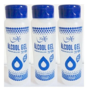 NAXOS Álcool Gel 70º Higienizador de Peles e Mãos 400ml 3un