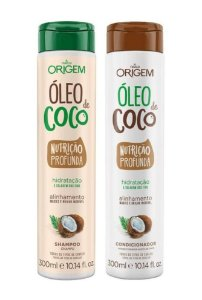 ORIGEM Óleo de Coco Kit Shampoo + Condicionador Nutrição Profunda 300ml