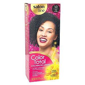 SALON LINE Color Total Coloração Permanente Kit 1.0 Preto Azulado