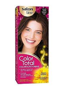 SALON LINE Color Total Coloração Permanente Kit 5.0 Castanho Claro