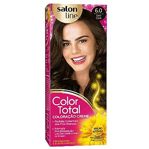 SALON LINE Color Total Coloração Permanente Kit 6.0 Loiro Escuro