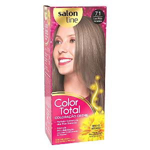 SALON LINE Color Total Coloração Permanente Kit 7.1 Loiro Médio Acinzentado