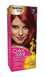 SALON LINE Color Total Coloração Permanente Kit 7.66 Vermelho Sedução