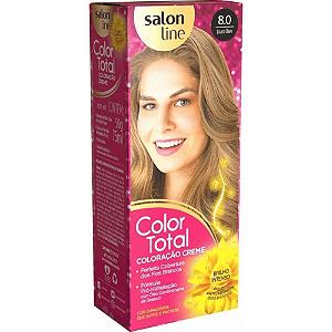 SALON LINE Color Total Coloração Permanente Kit 8.0 Loiro Claro