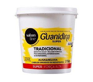 SALON LINE Guanidina Tradicional Creme de Relaxamento Super para Cabelos Grossos ou Resistentes 215g