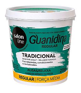 SALON LINE Guanidina Tradicional Creme Relaxante Regular Cabelos Médios e Finos 218g