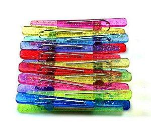 SANTA CLARA Clips Plástico Bicolor com Glitter cores sortidas 12un (2094)