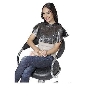 SANTA CLARA Penteador Redondo Com Velcro em PVC Emborrachado Preto (9796)