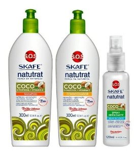 SKAFE Natutrat SOS Força da Natureza Coco Kit Shampoo + Condicionador 300ml + Spray Hidratante 120ml