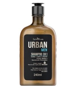 URBAN MEN Shampoo 3x1para Barba, Cabelo e Bigode 240ml