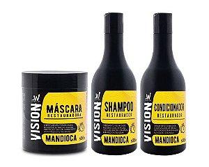 VISION Mandioca Kit Shampoo + Condicionador + Máscara Capilar Restauradora 500ml