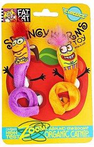 Brinquedo para Gatos Springy Worms Roxo e Laranja com Catnip