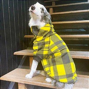 Moletom Gola Alta para Cachorros Xadrez Amarelo