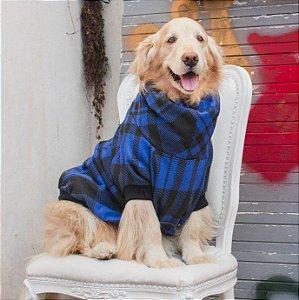 Moletom Gola Alta para Cachorros Xadrez Azul