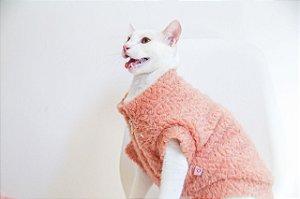 Casaco Pelúcia para Cachorros e Gatos Coral