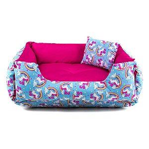 Cama Dupla Face para Cachorros | Lola Unicórnio Azul e Pink