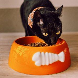 Comedouro para Gatos Cerâmica Espinha de Peixe Laranja
