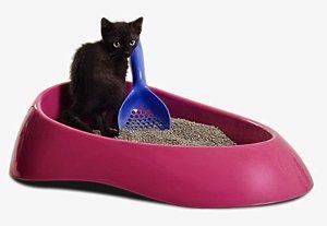 Caixa de Areia para Gatos Rosa
